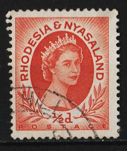 Rhodesia and Niasaland 1954/1956 Queen Elizabeth II 0.5p (1/16) USED