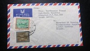 RARE 1969 SAUDI ARABIA TO CANADA WITH RARE 28 P USED ON COVER TO LONDON ONTARIO