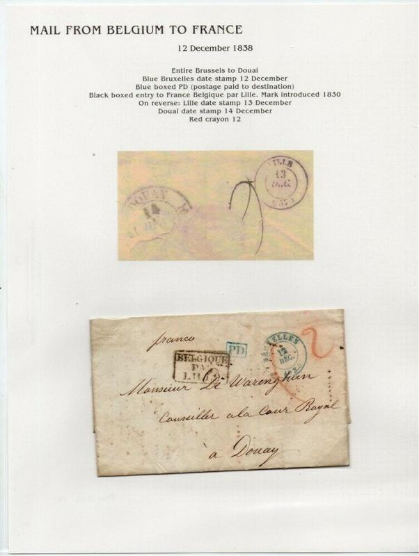 FRANCE Early Incoming LETTER/COVER 1838 fine used item Brussels - Douai