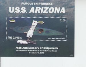 2016 Gambia Shipwrecks SS USS Arizona (Scott 3695) MNH