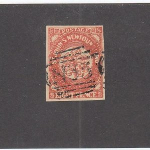 NEWFOUNDLAND (MK6773) # 8 VF-USED POSSIBLE FORGERY 8p ST JOHN'S IMPERF CV $375