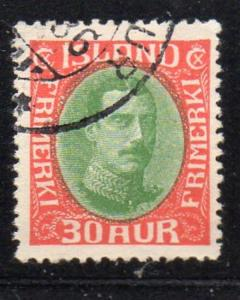 Iceland Sc 183 1931 30 aure red & green Christian X stamp used