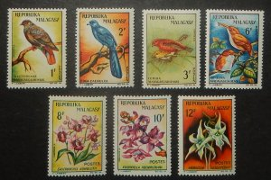 Madagascar 340-46, C72-74. 1963 Birds and Orchids, NH