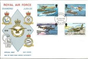 Isle Of Man FDC Royal Air Force Diamond Jubilee Planes & Ships 4 Stamps 1978