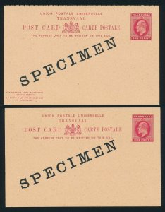 Transvaal 1902 KEVII 1d Postcards single & double reply SPECIMEN