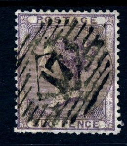 GB QV 1856  6d. Lilac AZURE PAPER Plate 1  Wmk Emblems SG 70e (Spec J70[3]e) VFU