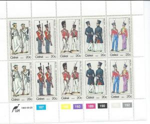 South  Africa -Ciskei #63 20c Uniforms Sheet of 10 (MNH) CV $4.50