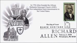 2016, Richard Allen, FDC, BW Postmark, Black Heritage, 16-041