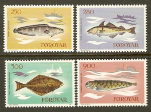Faroe Islands #97-100 NH Fish
