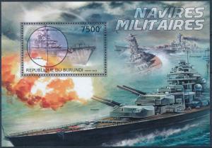 Burundi MNH S/S Military Ship In Battle 2012