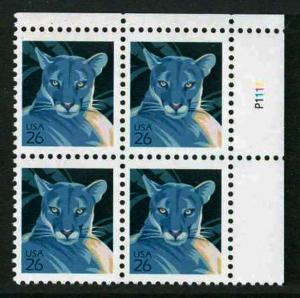 2007  Florida Panther  26c  Sc 4137  MNH  plate block of 4 Typical