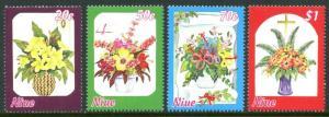 NIUE Sc#702-705 1997 Christmas Flower Bouquets Complete Set OG Mint NH