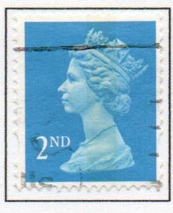 Great Britain Sc MH239 1993 2nd brt blue litho  QE II  Machin Head stamp used