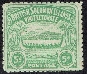 BRITISH SOLOMON ISLANDS 1907 LARGE CANOE 5D