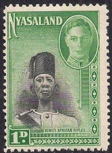 Nyasaland 1945 KGV1 1d Black & Emerald Umm SG 145 ( K1382 )
