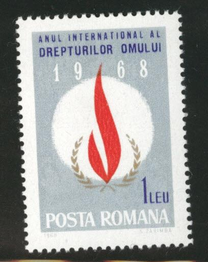 ROMANIA Scott 2007 MNH** Human Rights Flame stamp 1968