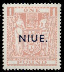 NIUE #89C, £1.00 pink, og, NH, VF, number in light pencil on back, Scott $700.00