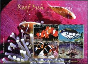 Papua New Guinea. 2012. Reef Fish (MNH OG) Miniature Sheet