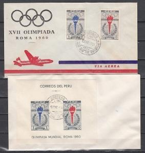 Peru, Scott cat. C172-C173 & C173a. Rome Olympics on 2 First day covers.