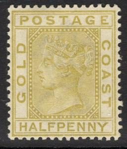 GOLD COAST SG9 1883 ½d OLIVE-YELLOW MTD MINT