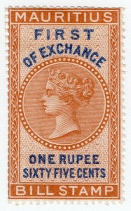 (I.B) Mauritius Revenue : Bill of Exchange 1R 65c (First)