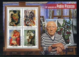 SAO TOME 2021 140th ANNIVERSARY OF PABLO PICASSO PAINTINGS SHEET MINT NH
