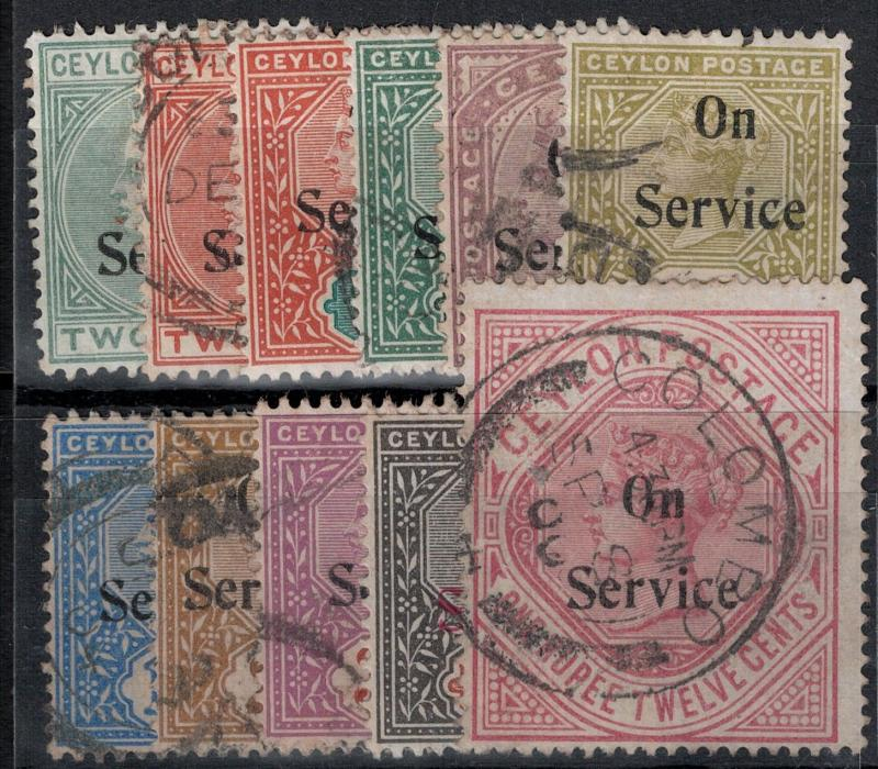 Ceylon 1869 SC O8-O17 Used Set SVC$ 94.00