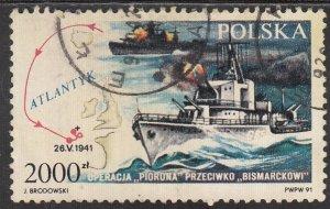 Poland, Sc 3040, Used, 1991, Sinking the Bismark