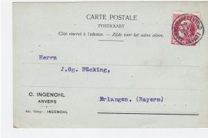 Belgium 1909  stationary  stamped post card  R20380