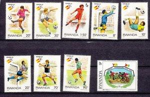 J27596 1982 rwanda set mh #1095-1102 sports