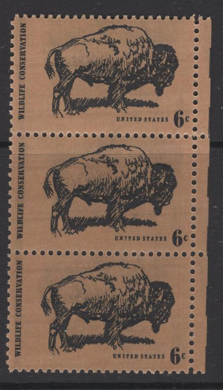 US 1970 6c Stamp Wildlife Strip of 3 Stamps Scott 1392 MNH