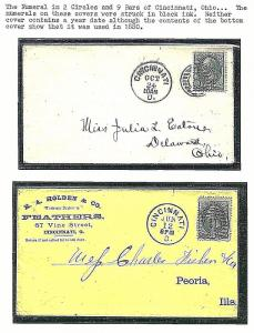 US ~ Two Clean Cincinnati Covers w/Commercial Numeral Fancy Cancels ~ Cole #NC-3