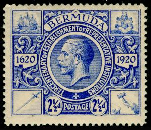 BERMUDA SG69,Tercentenary 2½d Bright Ultramarine, M MINT. Cat £15.