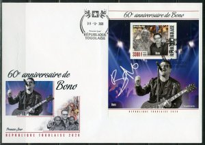 TOGO  2020  60th aNNIVERSARY OF BONO SOUVENIR SHEET FIRST DAY COVER