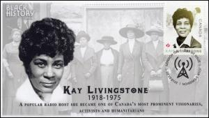 CA18-003, 2018, Black History, Kay Livingstone, Day of Issue, FDC,