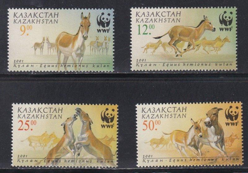 Kazakhstan # 344-347, WWF - Wild Horses, NH,