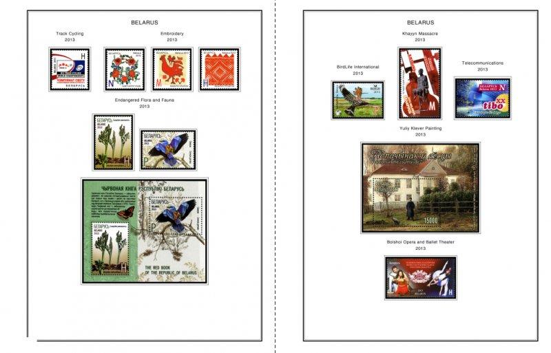 COLOR PRINTED BELARUS 2011-2014 STAMP ALBUM PAGES (37 illustr. pages)