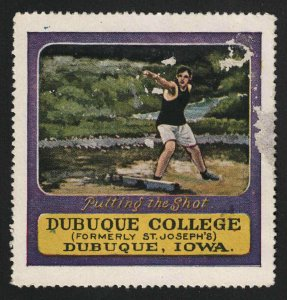 Dubuque College (Formerly St. Joseph's) Poster Stamp - Dubuque, Iowa - Shot Put