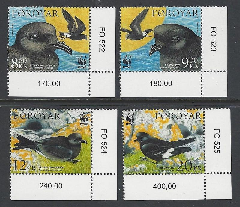 Faroe Islands 2005 Birds WWF VF MNH (458-61)