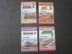 St Vincent 1986 Sc 961-4 Train set MNH