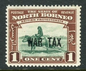 NORTH BORNEO; 1941 early WAR TAX OPtd. issue Mint hinged 1c. value