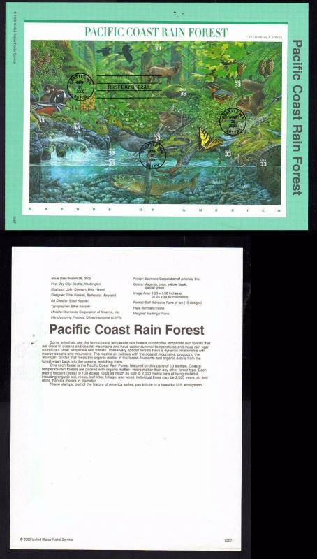 Pacific Coast Rain Forest USPS First Day Souvenir Page; Seattle # 3378