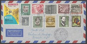 GERMANY 1957 airmail cover - great franking + cinderella....................B320
