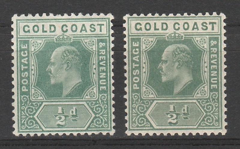GOLD COAST 1907 KEVII 1/2D BOTH SHADES