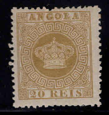 Angola Scott 3 MH* perf 12.5 Crown stamp, hinge remnant nicely centered