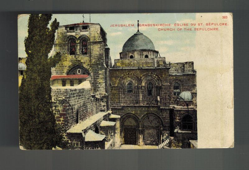 1912 Jerusalem Turkey Palestine Picture Postcard Cover to USA Sepulchre Church