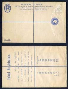 RP22 QV 2d Blue Registered Envelope Size H 50-120 on Back Mint