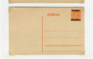 GERMANY WURTTEMBERG; Official Pre-Paid Postcard 1919 fine Mint Optd. 7.5pf