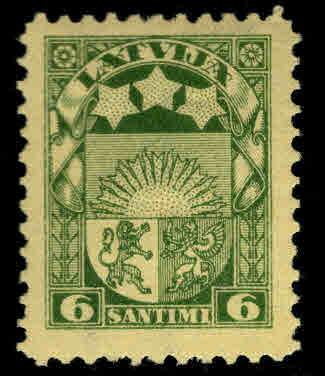 Latvia Scott 141 MH* coat of arms stamp