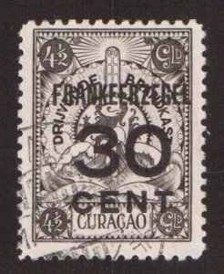 Netherlands Antilles  Curacao  #92  used  1927  marine insurance surcharge 30c